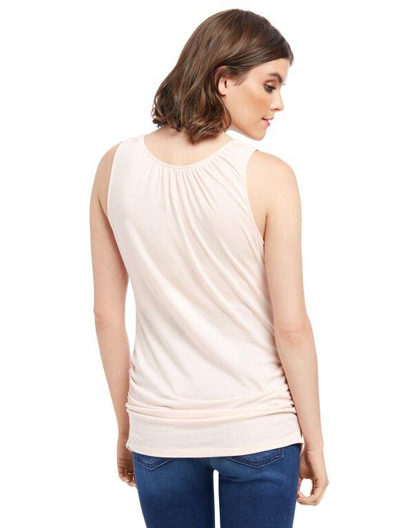 V-neck Pull Down Nursing Tank Top, Pink