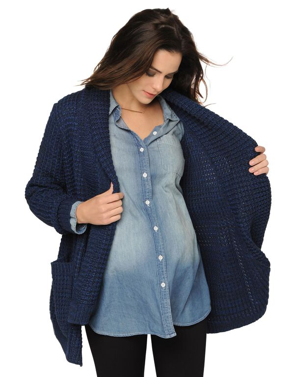 Maternity Cardigan, Blue Twist