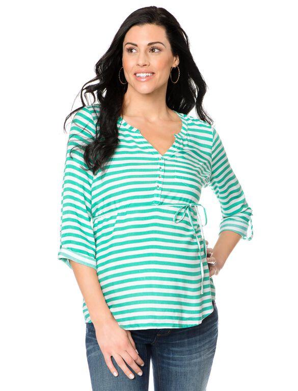 Button Detail Maternity Shirt, Green/White Stripe