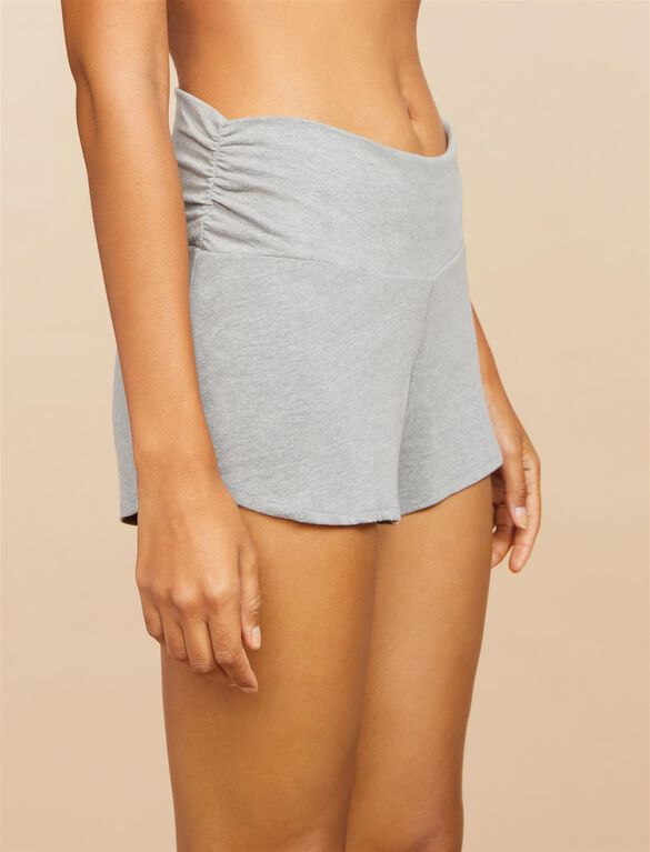 Relaxed Fit Maternity Sleep Shorts- Grey, Gray