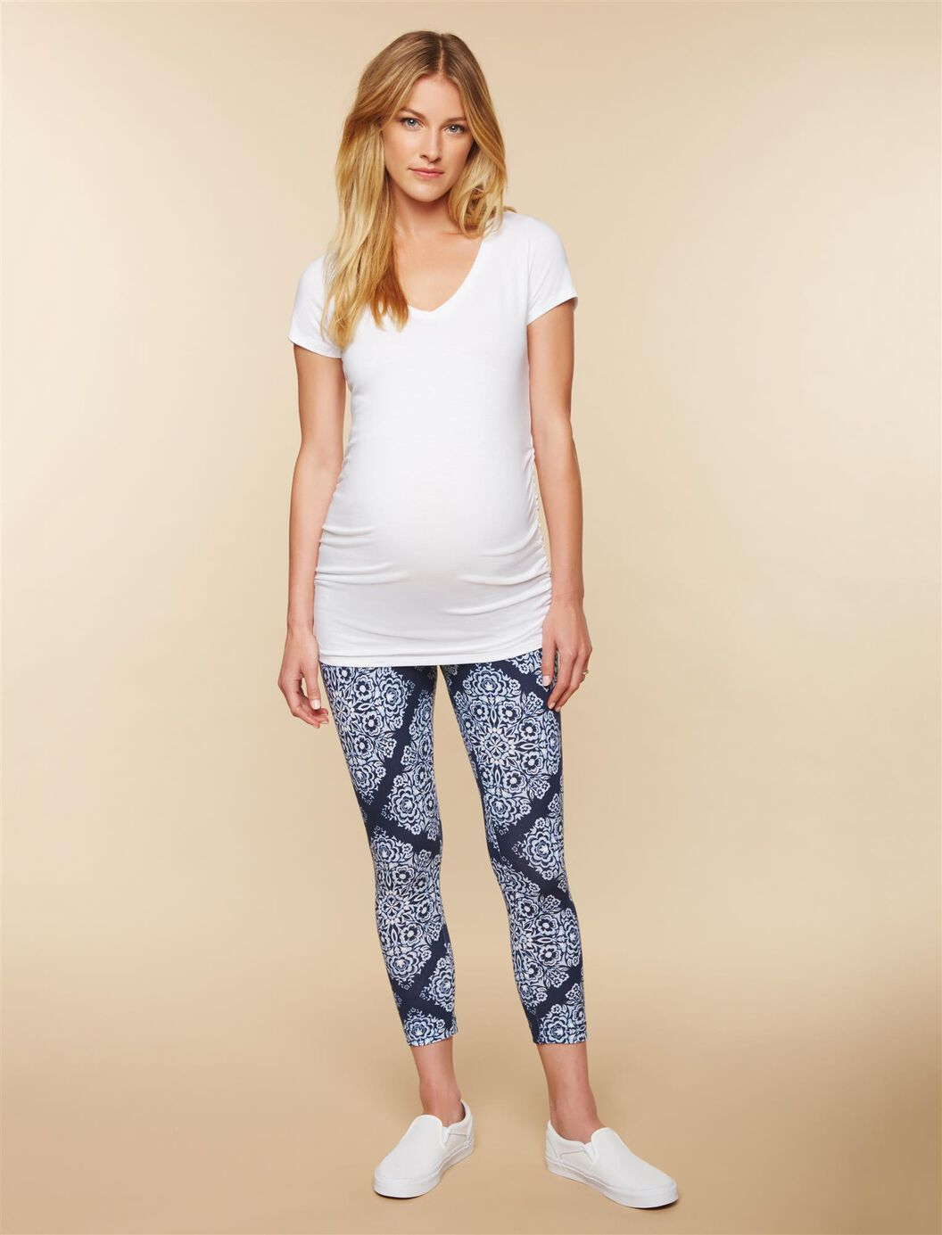 Secret Fit Belly Printed Maternity Crop Leggings- Blue Bandanna at Motherhood Maternity in Victor, NY | Tuggl