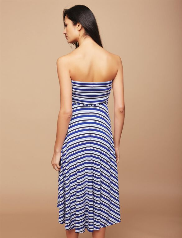 Strapless High-low Hem Maternity Dress- Navy Stripe, Navy Stripe