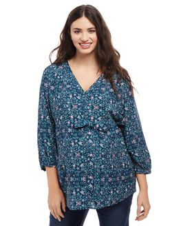 Plus Size Sash Belt Maternity Blouse, Teal Floral Print