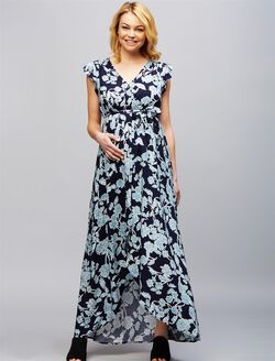 Splendid High-low Hem Maternity Dress, Floral Blue