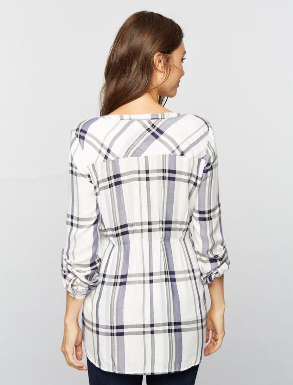 Luxe Essentials Denim Plaid Maternity Shirt- White, White Plaid