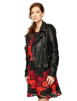Blank NYC Faux Leather Moto Maternity Jacket, Black