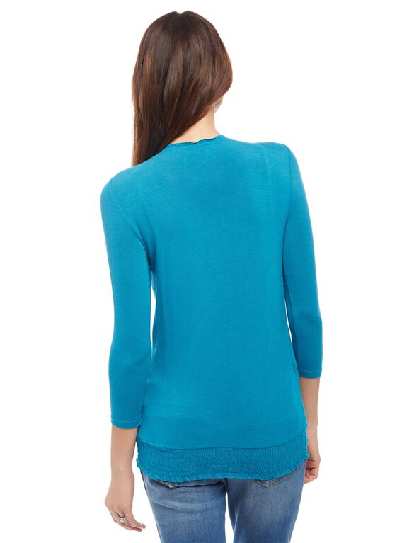 Smocked Pull Down Nursing Top, Dusty Turquoise