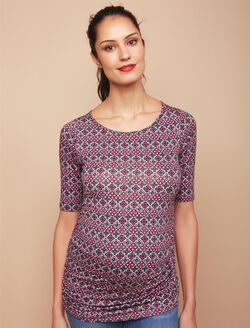 Keyhole Side Ruched Maternity Tee, Fuchsia Print