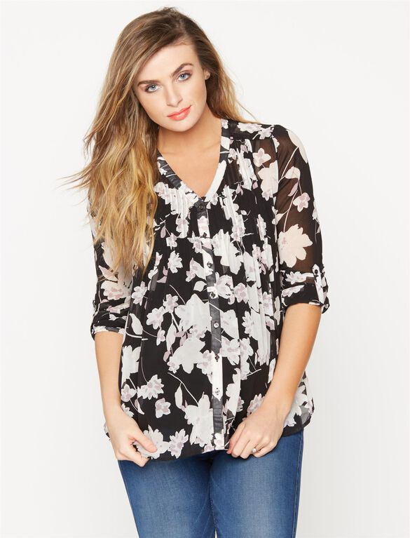 Pleated Maternity Blouse, Black/White Floral