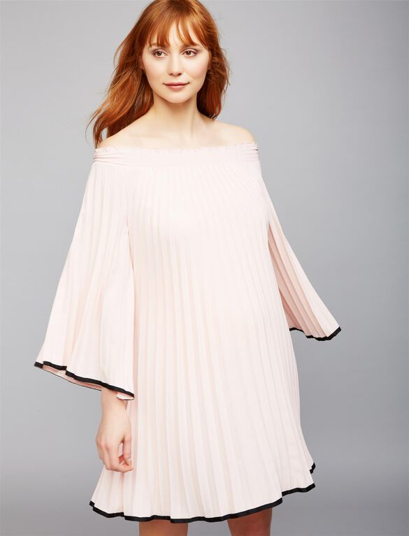 Nicole Miller Pleated Maternity Dress, Blush