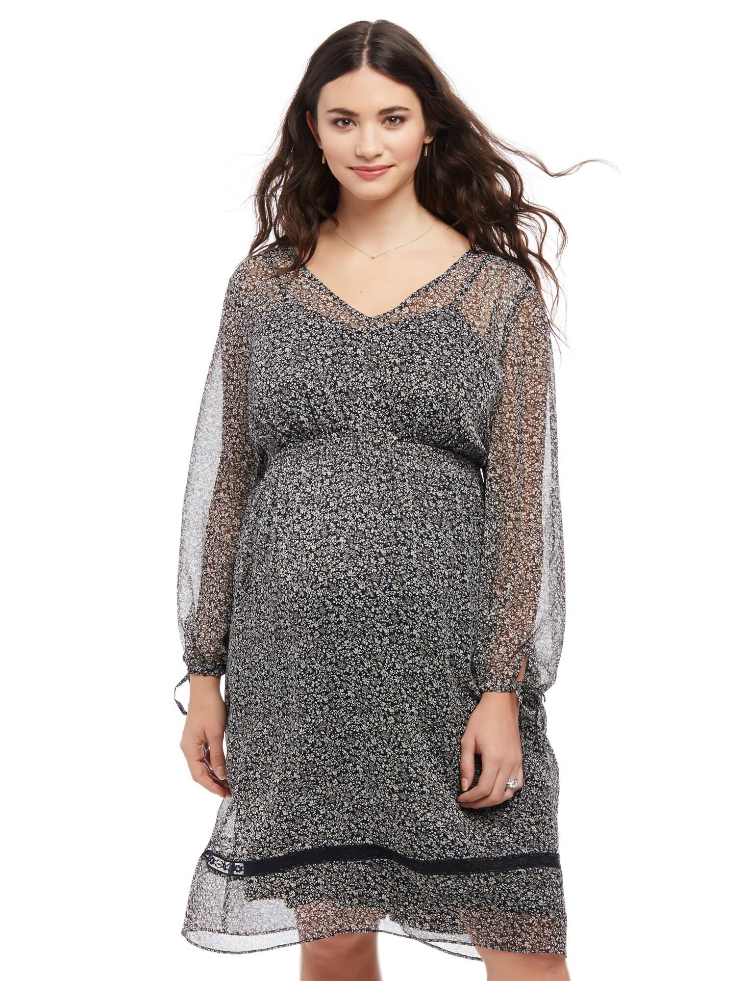 Plus Size Ditsy Floral Maternity Peasant Dress