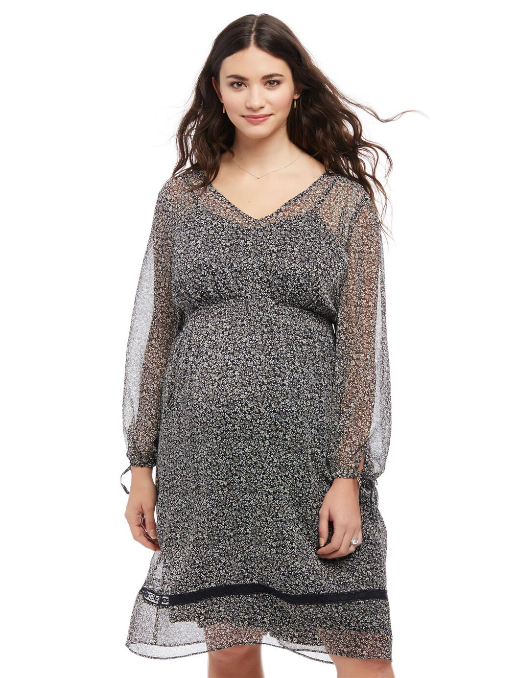 Plus Size Ditsy Floral Maternity Peasant Dress at Motherhood Maternity in Victor, NY | Tuggl