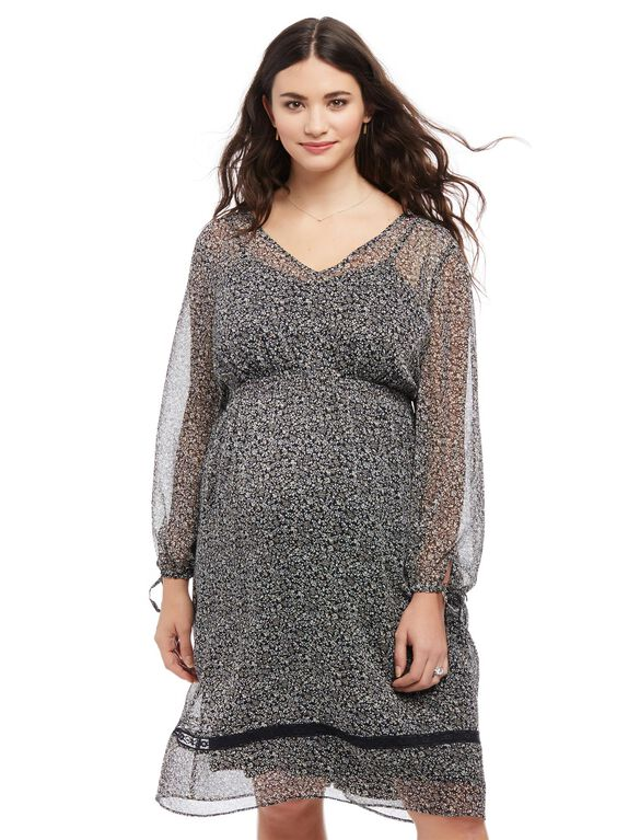 Plus Size Ditsy Floral Maternity Peasant Dress, Ditsy Floral