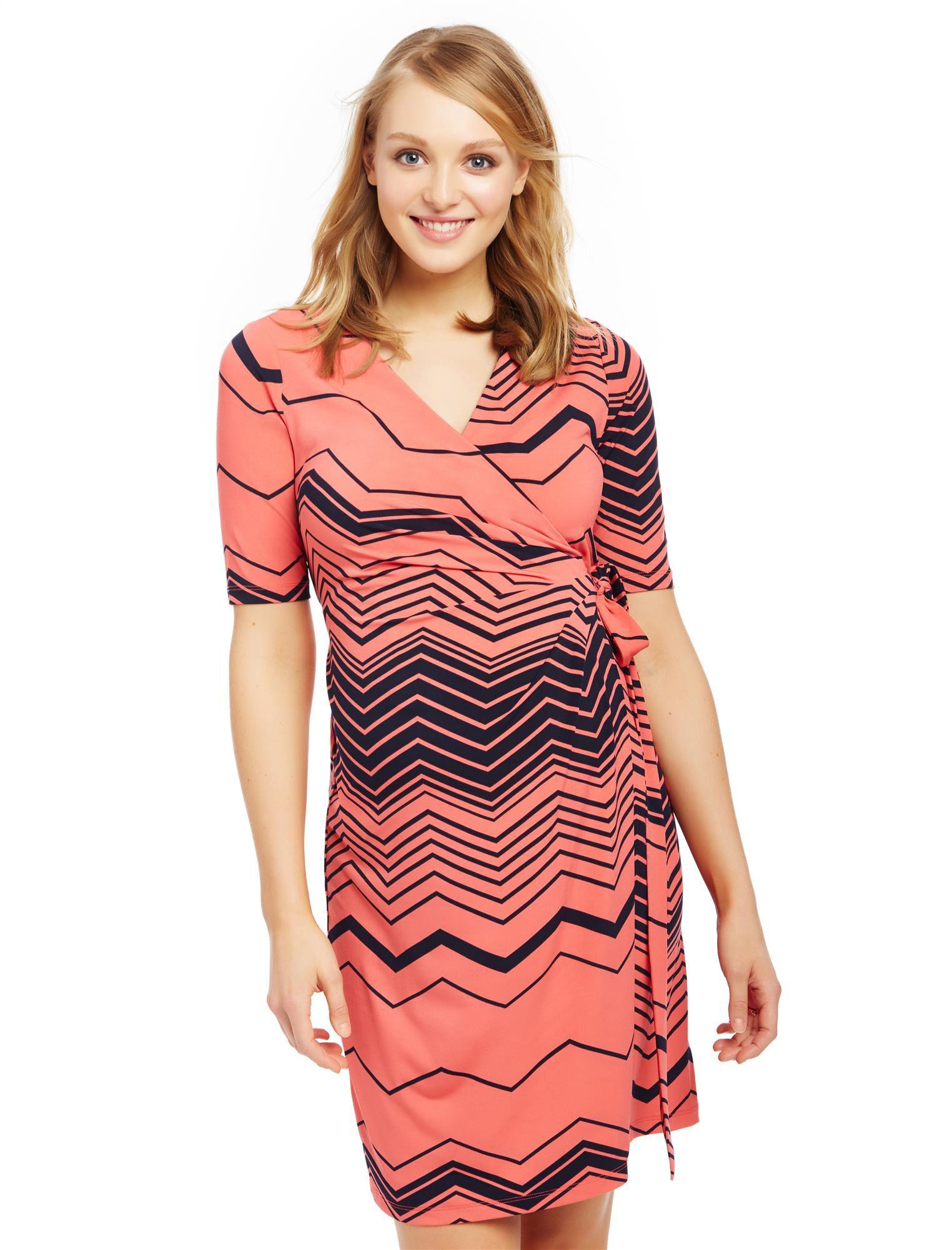 Waist Tie Surplice Maternity Dress- Zig Zag Print