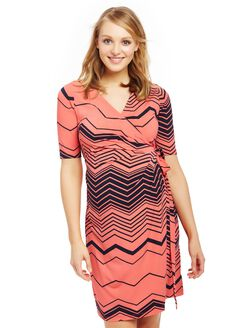 Waist Tie Surplice Maternity Dress, Navy/Coral Zig Zag