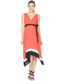 Colorblock Hanky Hem Maternity Dress, Pink Colorblock