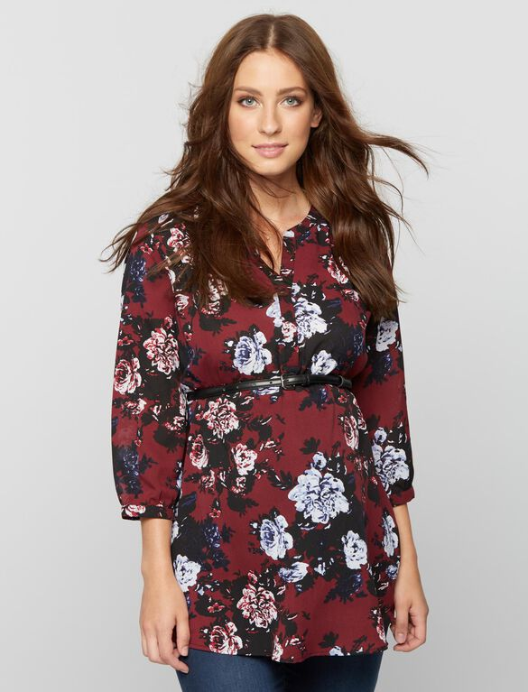 Belted Floral Maternity Tunic, Burgundy Floral Prnt