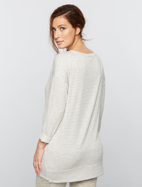 Striped Maternity Sweatshirt, Grey