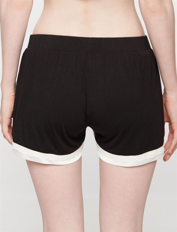 Lace Trim Maternity Sleep Shorts, Black