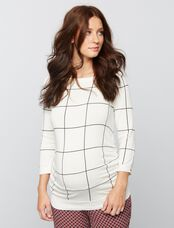 Side Ruched Maternity Sweater, Black/White Pattern