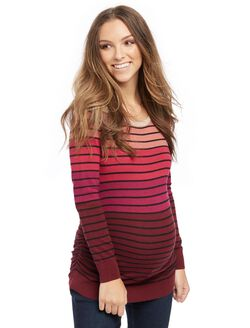 Side Ruched Maternity Sweater- Stripe, Pink Stripe