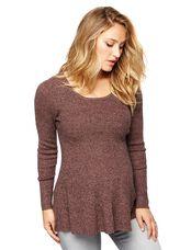 Peplum Maternity Sweater Tunic, Burgundy