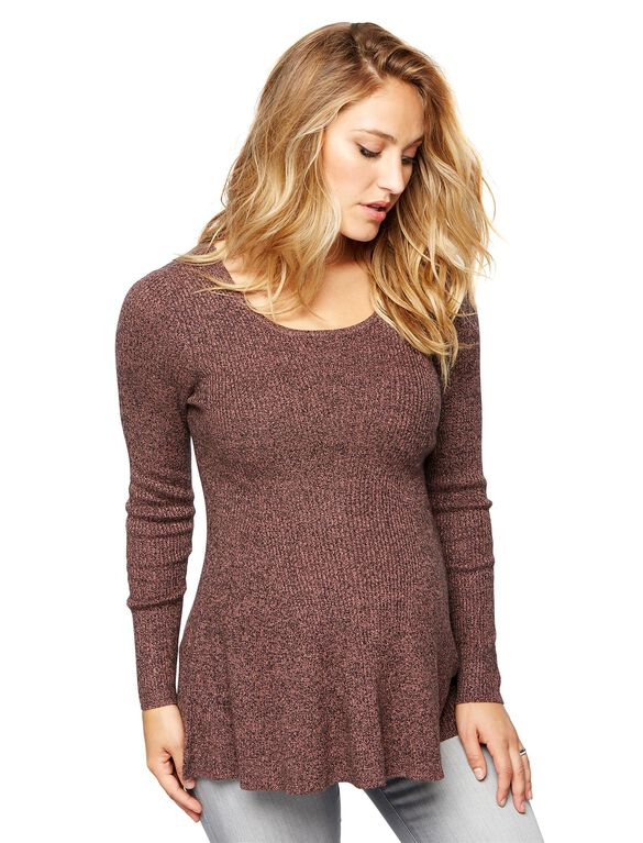 Peplum Maternity Sweater Tunic, Burgundy