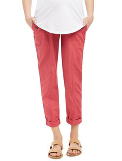 Secret Fit Belly Cargo Straight Maternity Pants- Camo, Nantucket Red