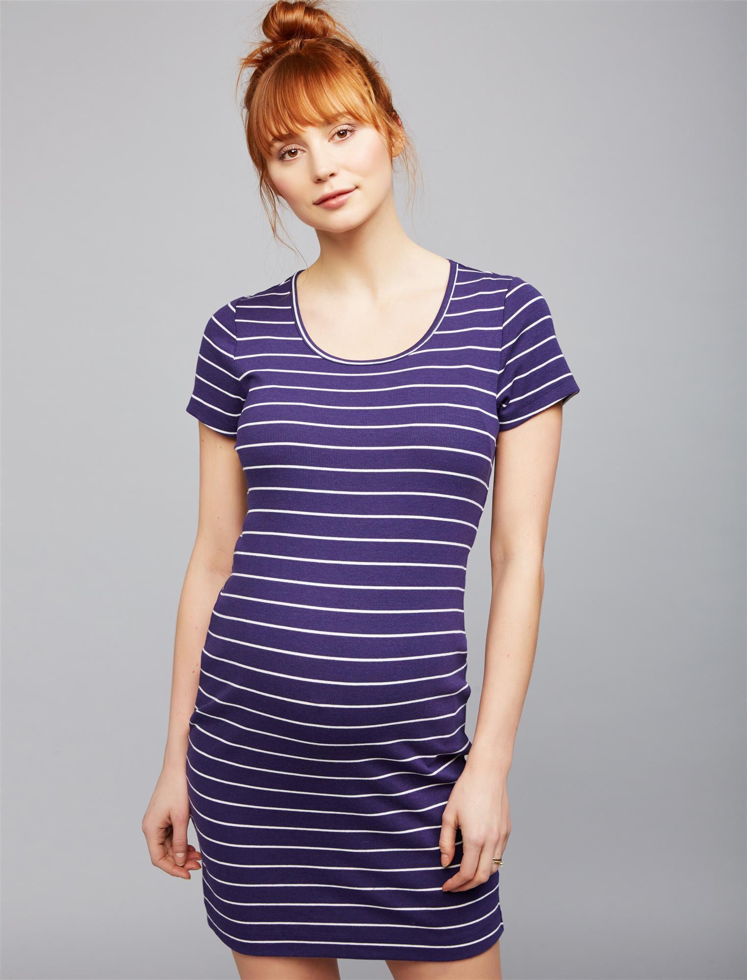 Back Keyhole Striped Maternity Dress