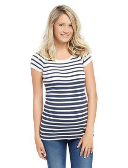 Rib Knit Maternity Sweater, Navy Stripe