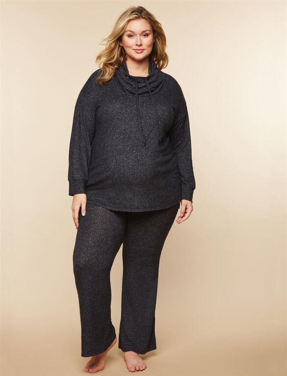 Plus Size Cowl Neck Maternity Sweatshirt, Charcoal