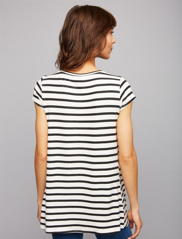 French Terry Striped Nursing Tee, Black/White Stripe