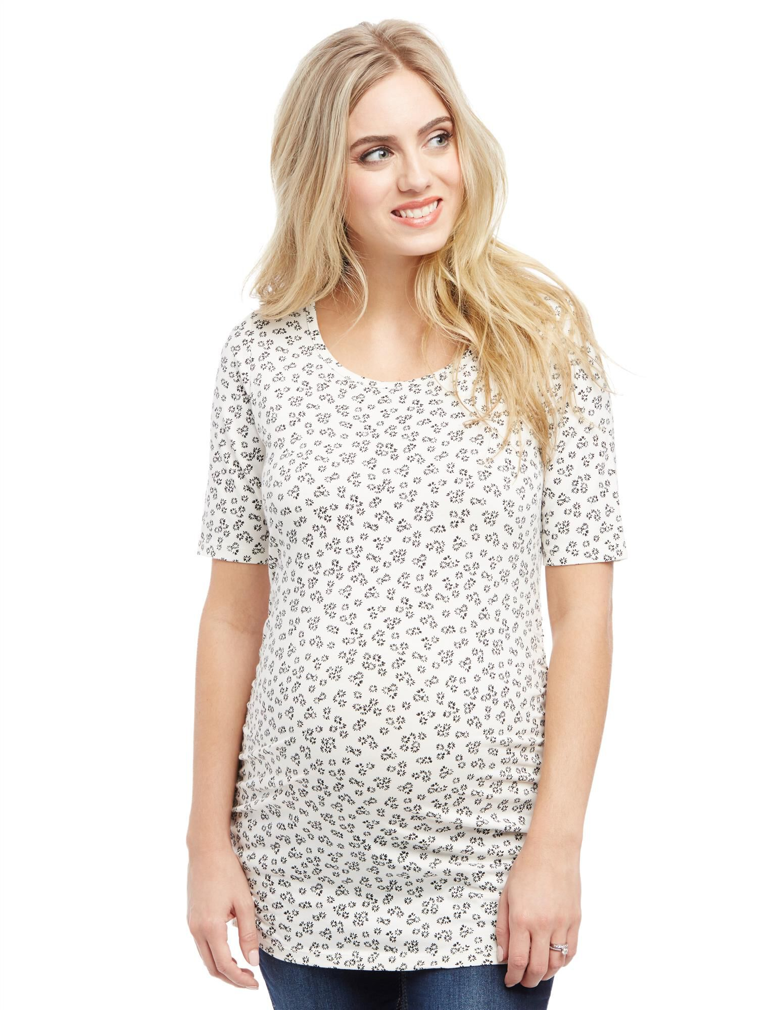 Elbow Sleeve Side Ruched Maternity Tee- Print