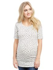 Elbow Sleeve Side Ruched Maternity Tee- Print, Black White Floral