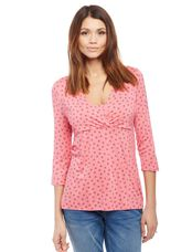 Pull Down Empire Seam Maternity Shirt- Pink Print, Camellia Rose Geo