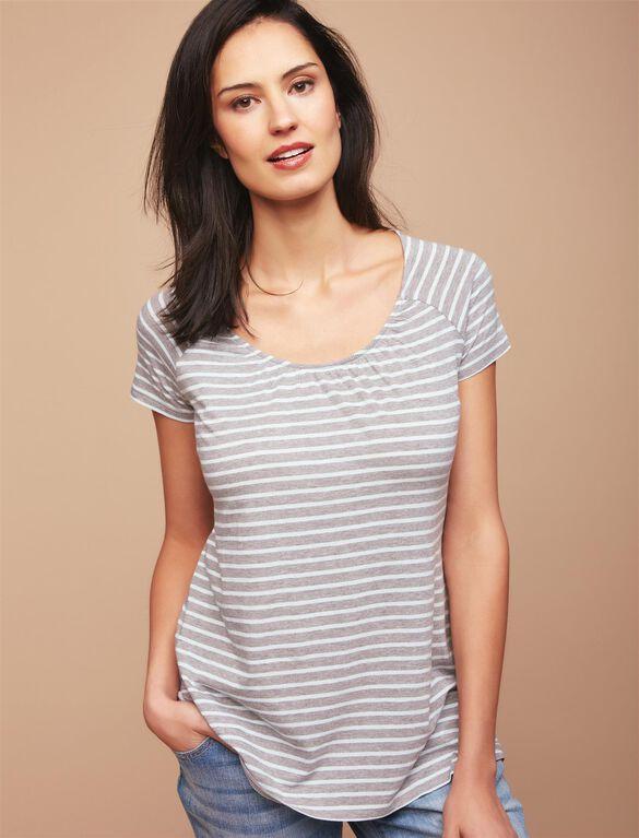 Pull Down Raglan Sleeve Nursing Tee, Aqua/Grey Stripe