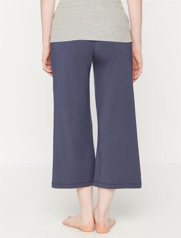 Under Belly Wide Leg Maternity Lounge Pants, Deep River Blue