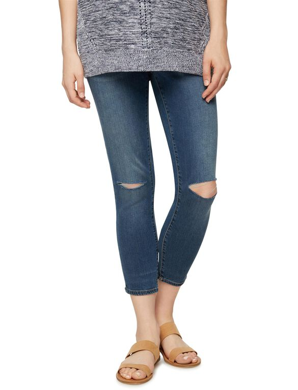 Luxe Essentials Denim Secret Fit Belly Maternity Boyfriend Jeans, Dark Wash