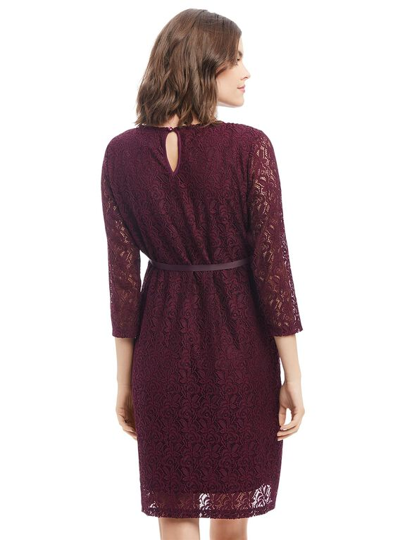 Lace Bow Detail Maternity Dress., Burgundy