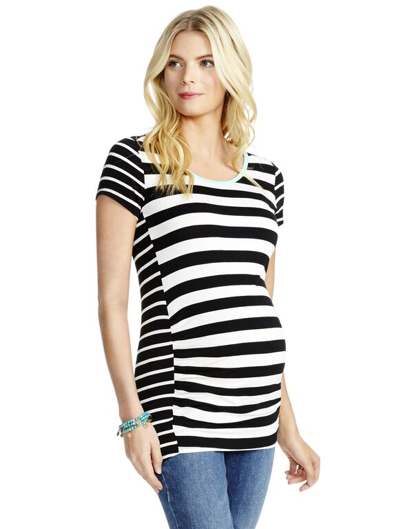 Jessica Simpson Striped Maternity Tee, Black/White