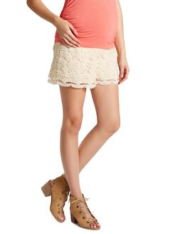 Jessica Simpson Under Belly Smocked Waist Maternity Shorts, Ivory