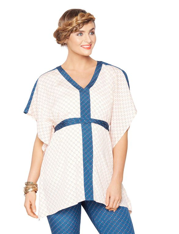 Rachel Zoe White-Blue Maternity Blouse, Multi Print