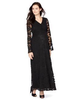 Wendy Bellissimo Lace Maternity Maxi Dress, Black