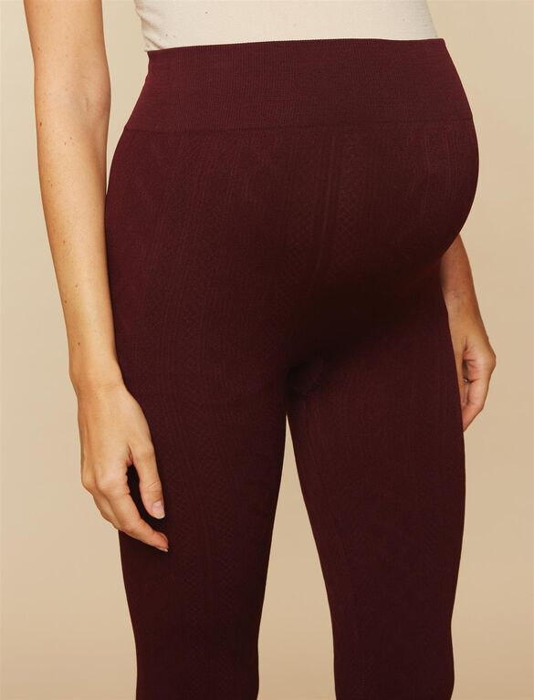 Under Belly Cable Knit Maternity Leggings, Burgundy