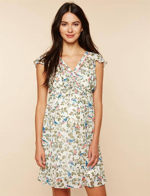 Flutter Sleeve Maternity Dress, IVORY BIRD PRINT