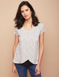 Short Sleeve Tulip Layered Nursing T-shirt- Geo Print, Black Wht Geo