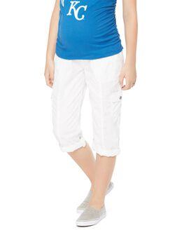 Secret Fit Belly Poplin Maternity Pants, White
