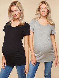 BumpStart Maternity Tee (2 Pack), Black/Grey