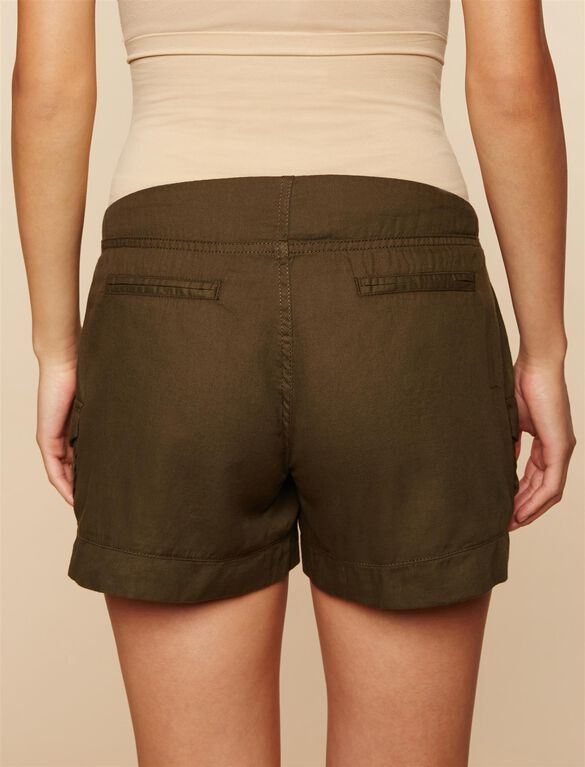 Secret Fit Belly Cargo Maternity Shorts, Olive