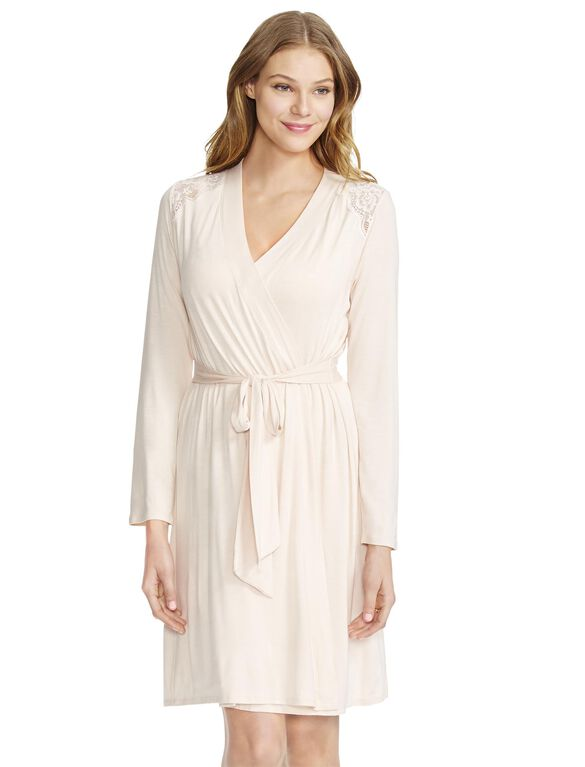 Jessica Simpson Lace Trim Maternity Robe- Pink, Pink